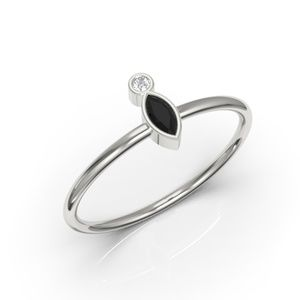 10K Minimalis Bezel Marquise Black Diamond CZ Ring